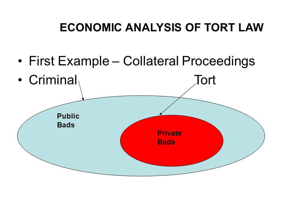 ECONOMIC ANALYSIS OF TORT LAW First Example – Collateral Proceedings Criminal Tort Private Bads Public Bads