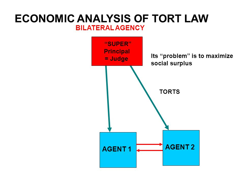 "ECONOMIC ANALYSIS OF TORT LAW BILATERAL AGENCY AGENT 1 AGENT 2 ""SUPER"" Principal = Judge TORTS Its ""problem"" is to maximize social surplus"