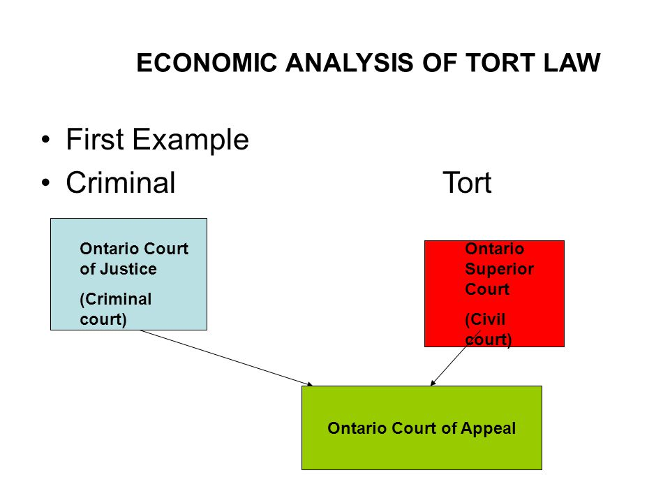 ECONOMIC ANALYSIS OF TORT LAW First Example Criminal Tort Ontario Court of Justice (Criminal court) Ontario Superior Court (Civil court) Ontario Court of Appeal