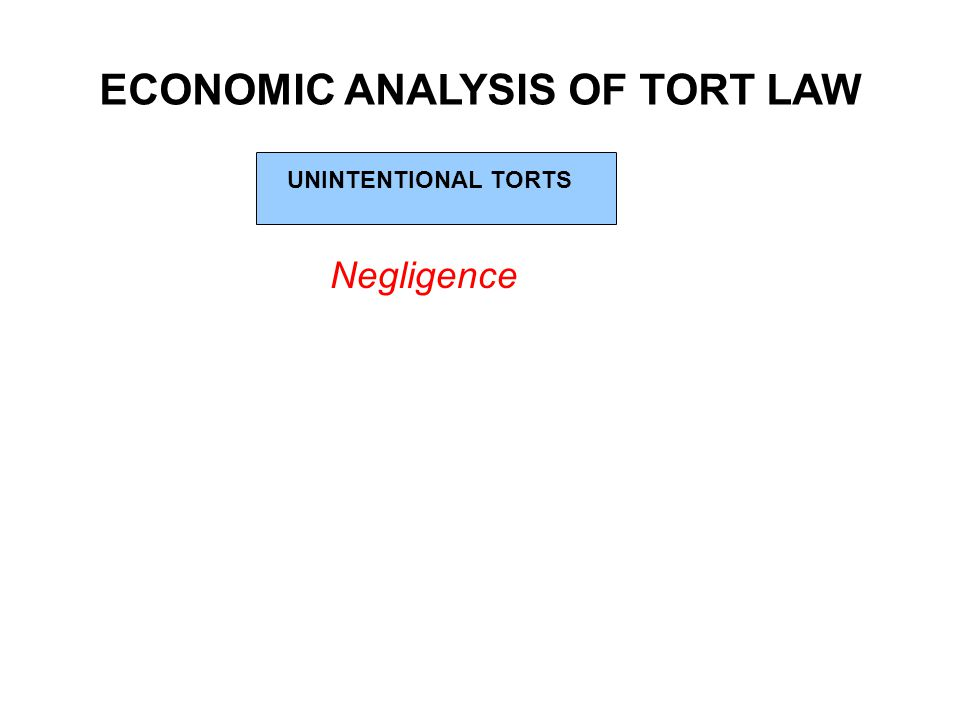 ECONOMIC ANALYSIS OF TORT LAW UNINTENTIONAL TORTS Negligence