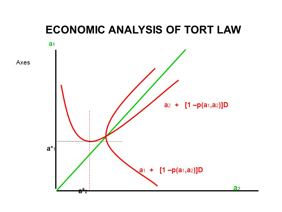 ECONOMIC ANALYSIS OF TORT LAW Axes a 1 a* 1 a2a2 a 2 + [1 –p(a 1,a 2 )]D a 1 + [1 –p(a 1,a 2 )]D a* 2