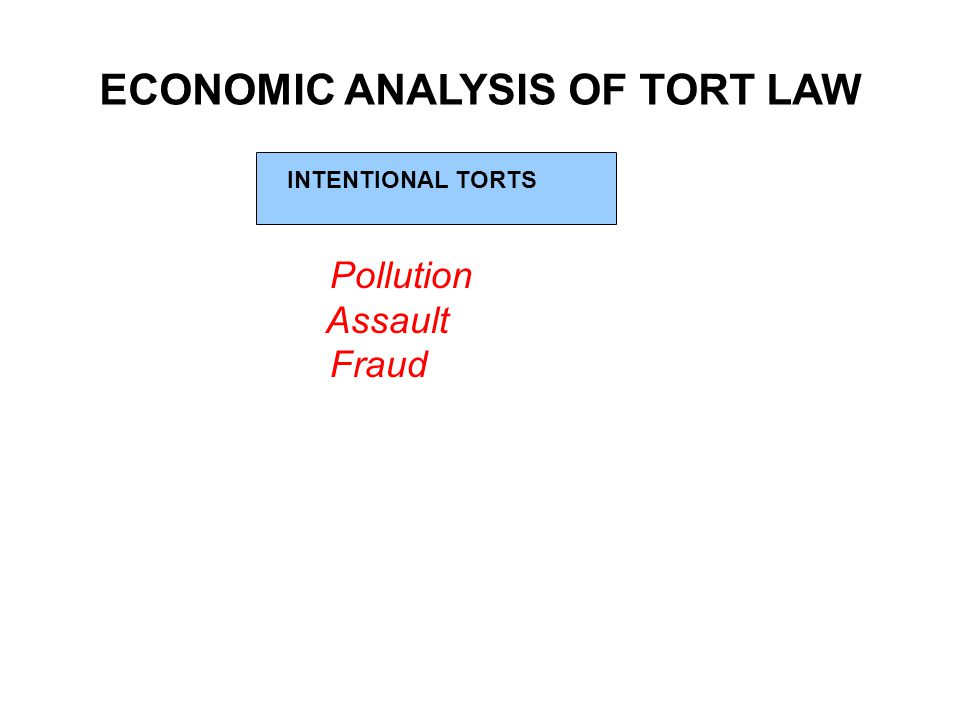 ECONOMIC ANALYSIS OF TORT LAW INTENTIONAL TORTS Pollution Assault Fraud