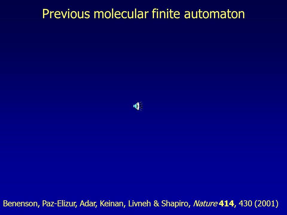 Previous molecular finite automaton Benenson, Paz-Elizur, Adar, Keinan, Livneh & Shapiro, Nature 414, 430 (2001)