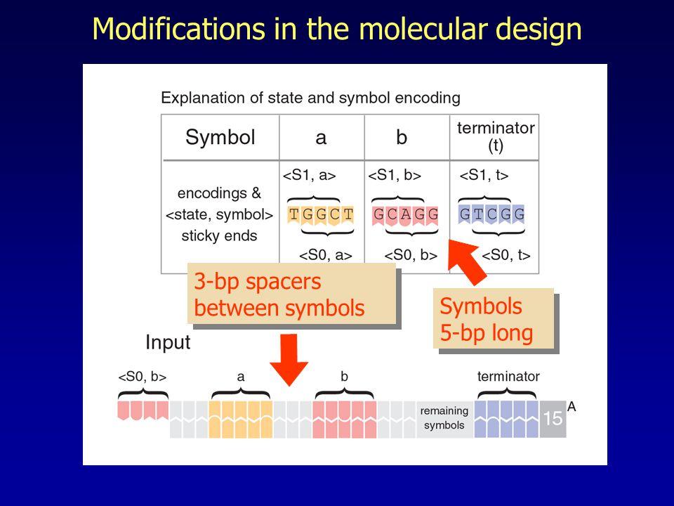 Modifications in the molecular design Symbols 5-bp long 3-bp spacers between symbols