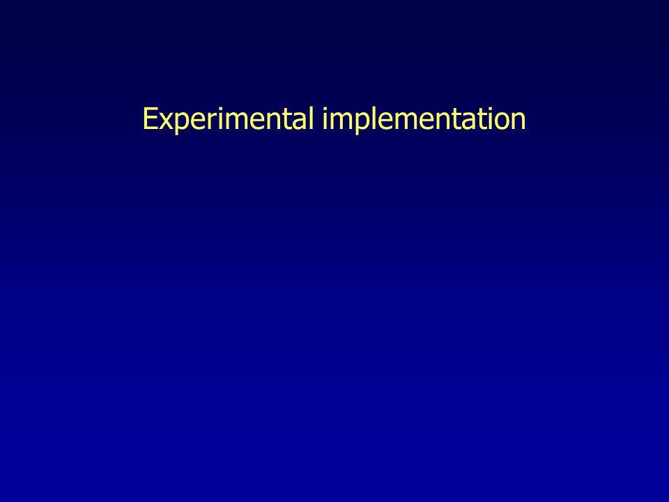Experimental implementation