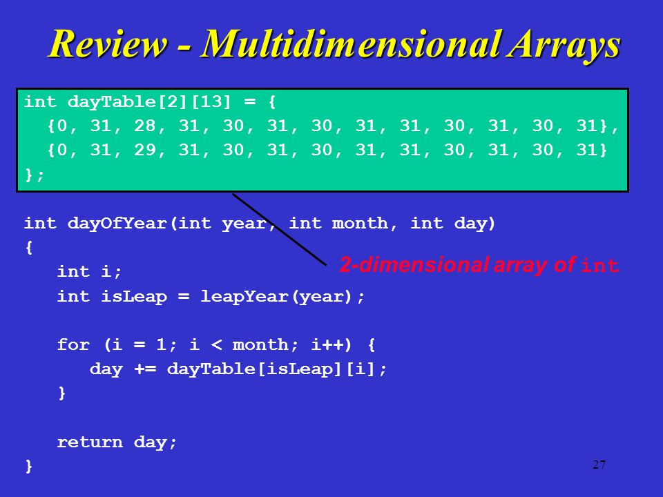 2-dimensional array of int int dayTable[2][13] = { {0, 31, 28, 31, 30, 31, 30, 31, 31, 30, 31, 30, 31}, {0, 31, 29, 31, 30, 31, 30, 31, 31, 30, 31, 30