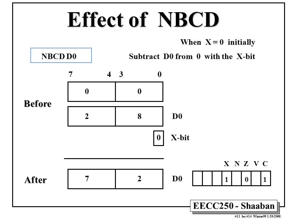 EECC250 - Shaaban #11 lec #14 Winter99 1-20-2000 Effect of NBCD When X = 0 initially X N Z V C 1 0 1 7 2 D0 7 4 3 0 0 0 X-bit 2 8 D0 NBCD D0 Subtract