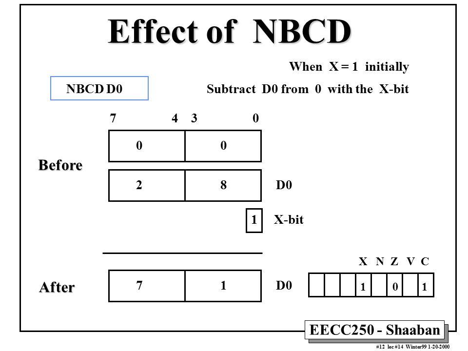 EECC250 - Shaaban #12 lec #14 Winter99 1-20-2000 Effect of NBCD When X = 1 initially X N Z V C 1 0 1 7 1 D0 7 4 3 0 0 1 X-bit 2 8 D0 NBCD D0 Subtract