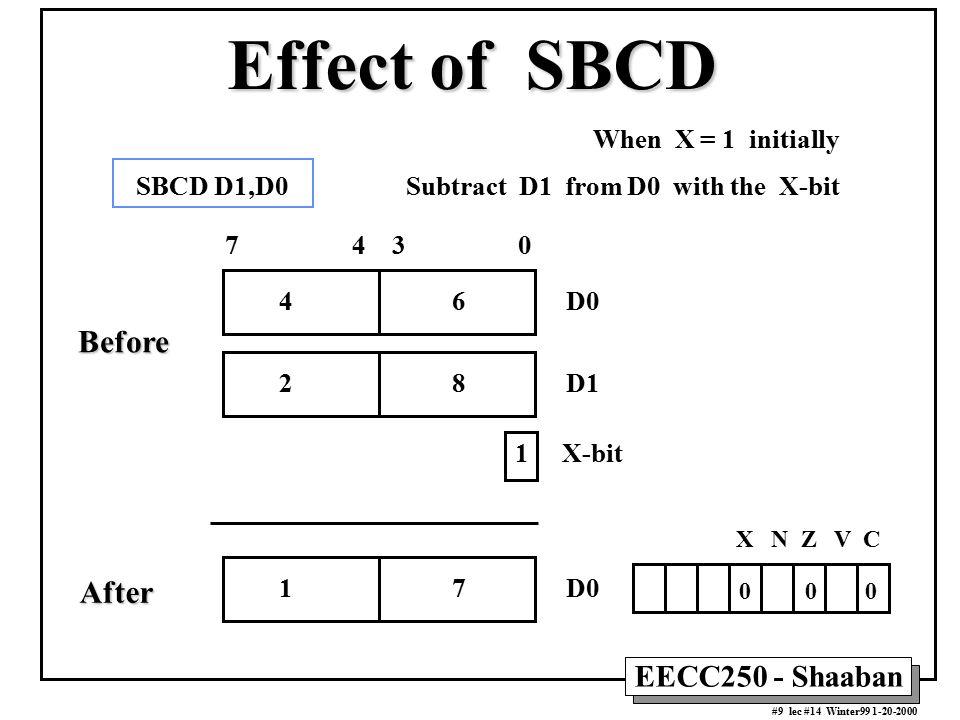 EECC250 - Shaaban #9 lec #14 Winter99 1-20-2000 Effect of SBCD When X = 1 initially X N Z V C 0 0 0 1 7 D0 7 4 3 0 4 6 D0 1 X-bit 2 8 D1 SBCD D1,D0 Su