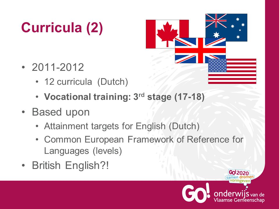 Curricula (2) 2011-2012 12 curricula (Dutch) Vocational training: 3 rd stage (17-18) Based upon Attainment targets for English (Dutch) Common European Framework of Reference for Languages (levels) British English !