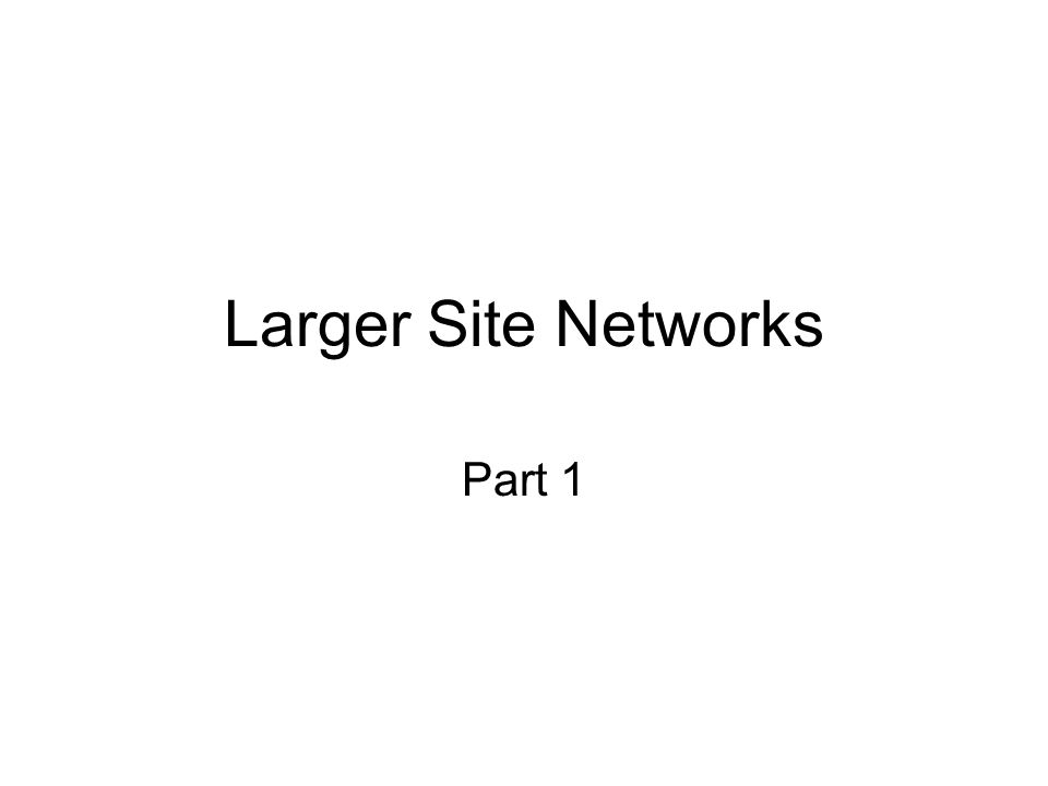 Larger Site Networks Part 1
