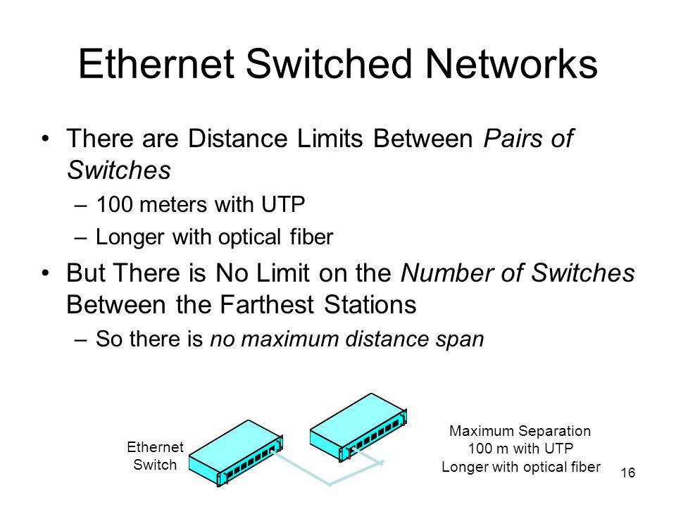 16 Ethernet Switched Networks There are Distance Limits Between Pairs of Switches –100 meters with UTP –Longer with optical fiber But There is No Limit on the Number of Switches Between the Farthest Stations –So there is no maximum distance span Maximum Separation 100 m with UTP Longer with optical fiber Ethernet Switch