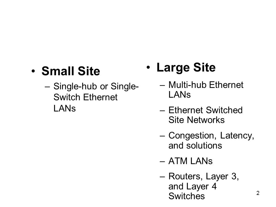 2 Small Site –Single-hub or Single- Switch Ethernet LANs Large Site –Multi-hub Ethernet LANs –Ethernet Switched Site Networks –Congestion, Latency, and solutions –ATM LANs –Routers, Layer 3, and Layer 4 Switches