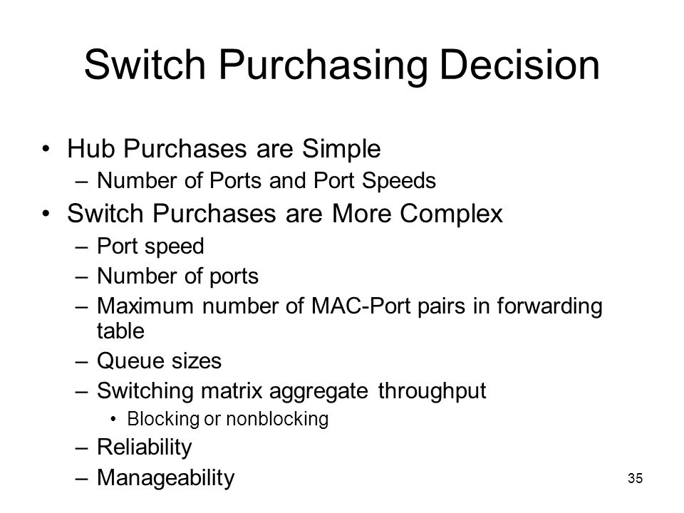 35 Switch Purchasing Decision Hub Purchases are Simple –Number of Ports and Port Speeds Switch Purchases are More Complex –Port speed –Number of ports –Maximum number of MAC-Port pairs in forwarding table –Queue sizes –Switching matrix aggregate throughput Blocking or nonblocking –Reliability –Manageability