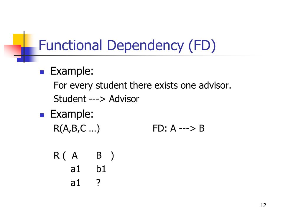 12 Functional Dependency (FD) Example: For every student there exists one advisor.