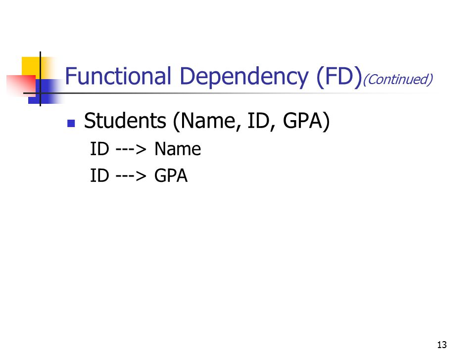 13 Functional Dependency (FD) (Continued) Students (Name, ID, GPA) ID ---> Name ID ---> GPA