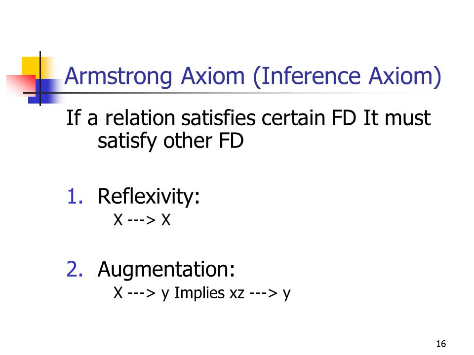 16 Armstrong Axiom (Inference Axiom) If a relation satisfies certain FD It must satisfy other FD 1.Reflexivity: X ---> X 2.Augmentation: X ---> y Impl