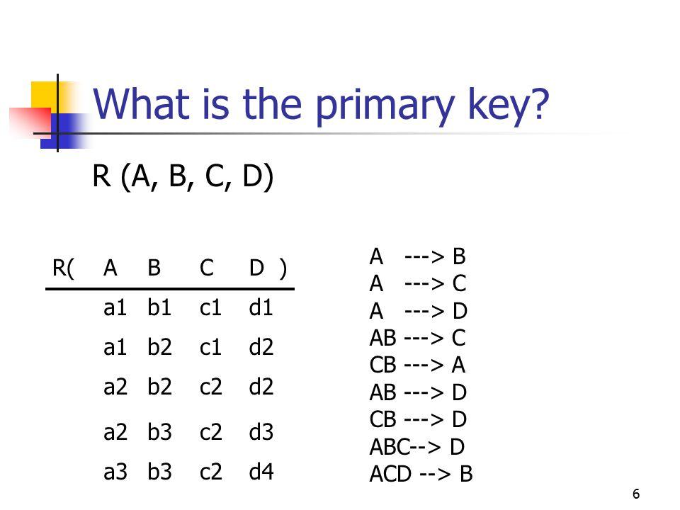 6 What is the primary key? R (A, B, C, D) R(ABCD ) a1b1c1d1 a1b2c1d2 a2b2c2d2 a2b3c2d3 a3b3c2d4 A ---> B A ---> C A ---> D AB ---> C CB ---> A AB --->