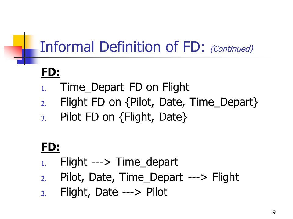 9 Informal Definition of FD: (Continued) FD: 1. Time_Depart FD on Flight 2.