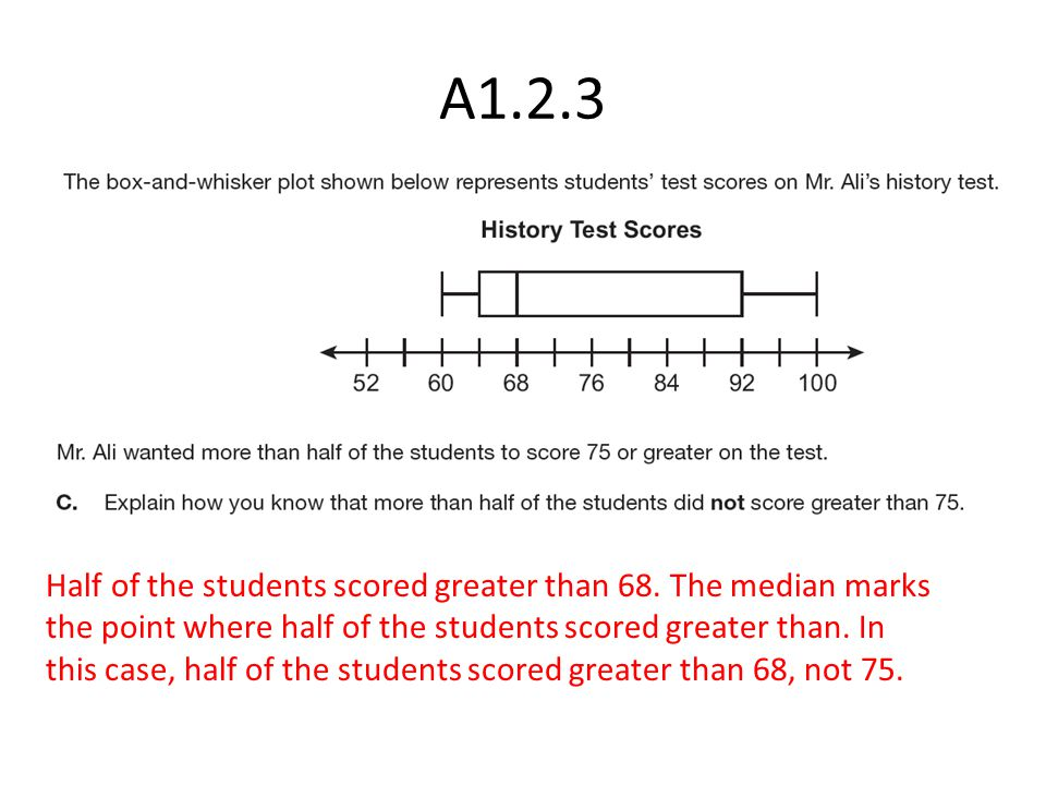 Half of the students scored greater than 68.