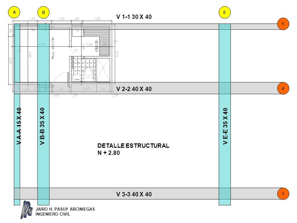 DETALLE ESTRUCTURAL N + 2.80 V 1-1 30 X 40 V 2-2 40 X 40 V 3-3 40 X 40 V A-A 15 X 40 V B-B 35 X 40 V E-E 35 X 40 A BE 3 2 1 JAIRO H.