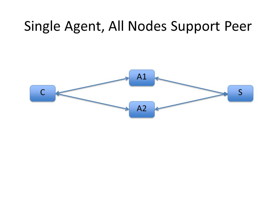 Single Agent, All Nodes Support Peer C C A1 S S A2