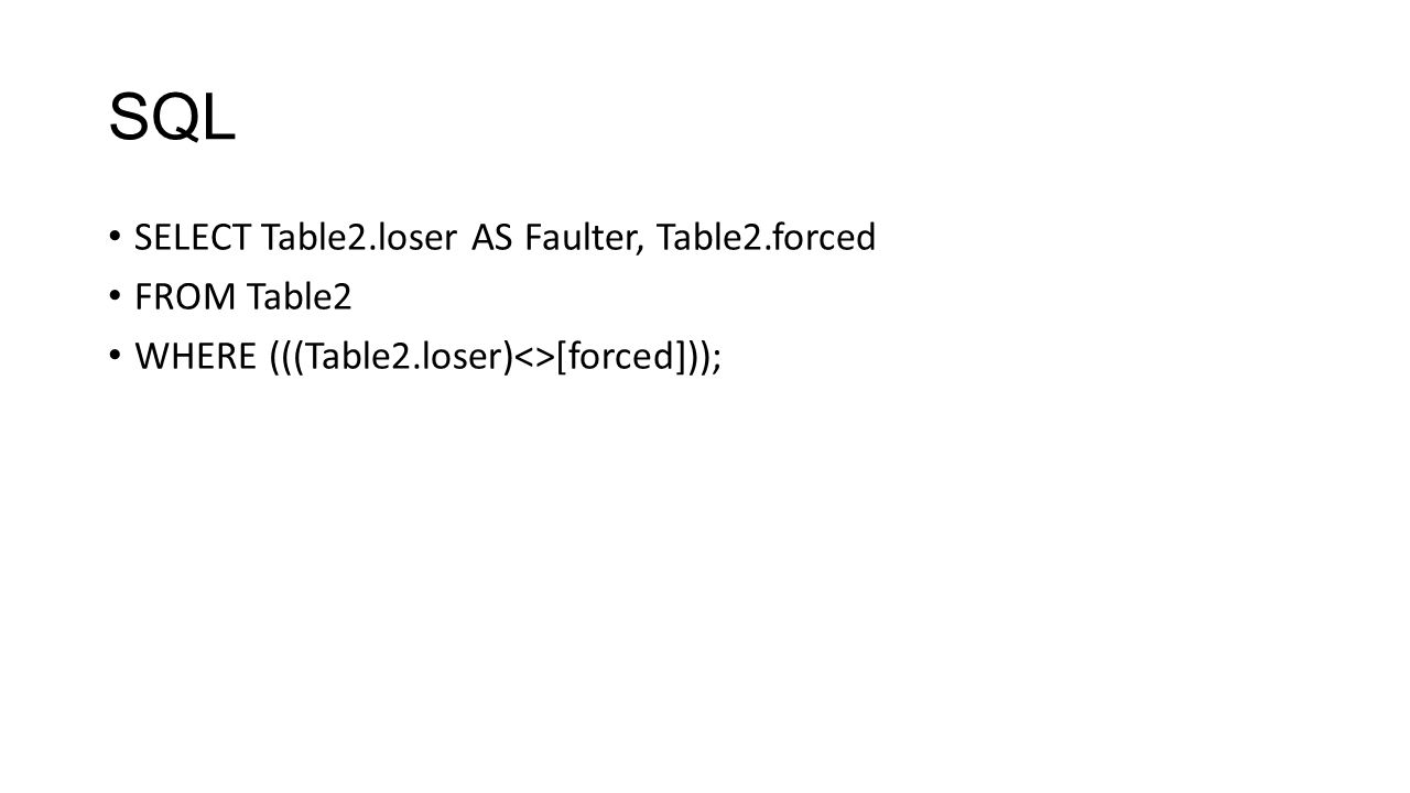 SQL SELECT Table2.loser AS Faulter, Table2.forced FROM Table2 WHERE (((Table2.loser)<>[forced]));