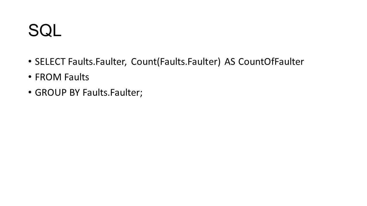 SQL SELECT Faults.Faulter, Count(Faults.Faulter) AS CountOfFaulter FROM Faults GROUP BY Faults.Faulter;