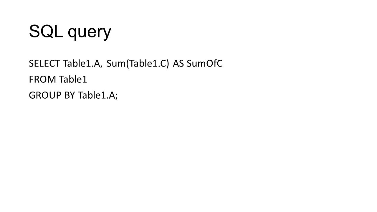 SQL query SELECT Table1.A, Sum(Table1.C) AS SumOfC FROM Table1 GROUP BY Table1.A;