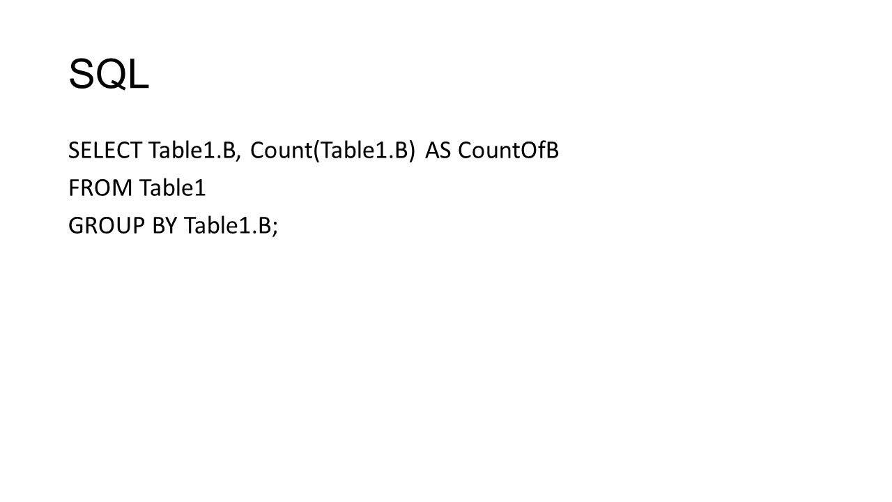 SQL SELECT Table1.B, Count(Table1.B) AS CountOfB FROM Table1 GROUP BY Table1.B;