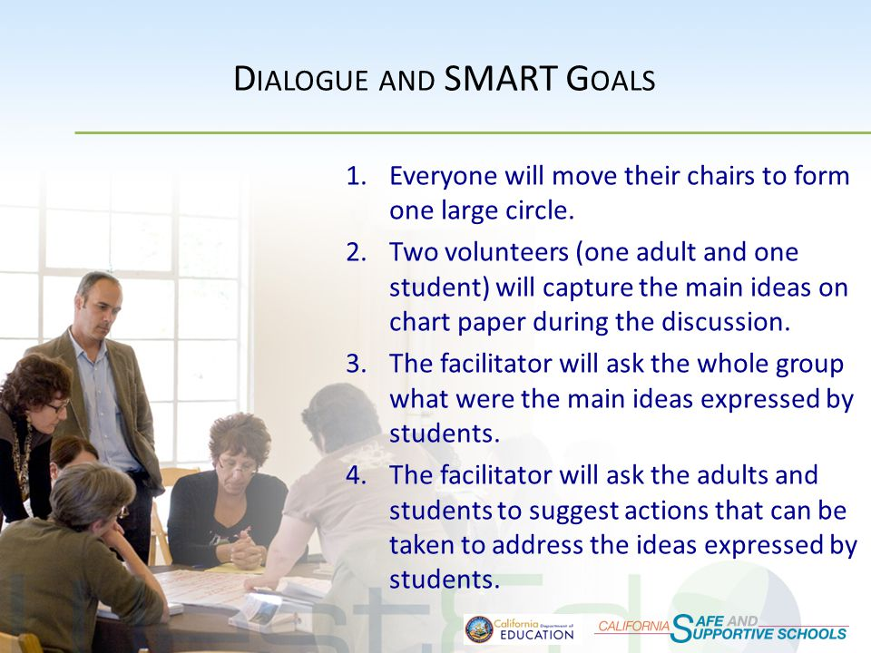 D IALOGUE AND SMART G OALS 1.Everyone will move their chairs to form one large circle.