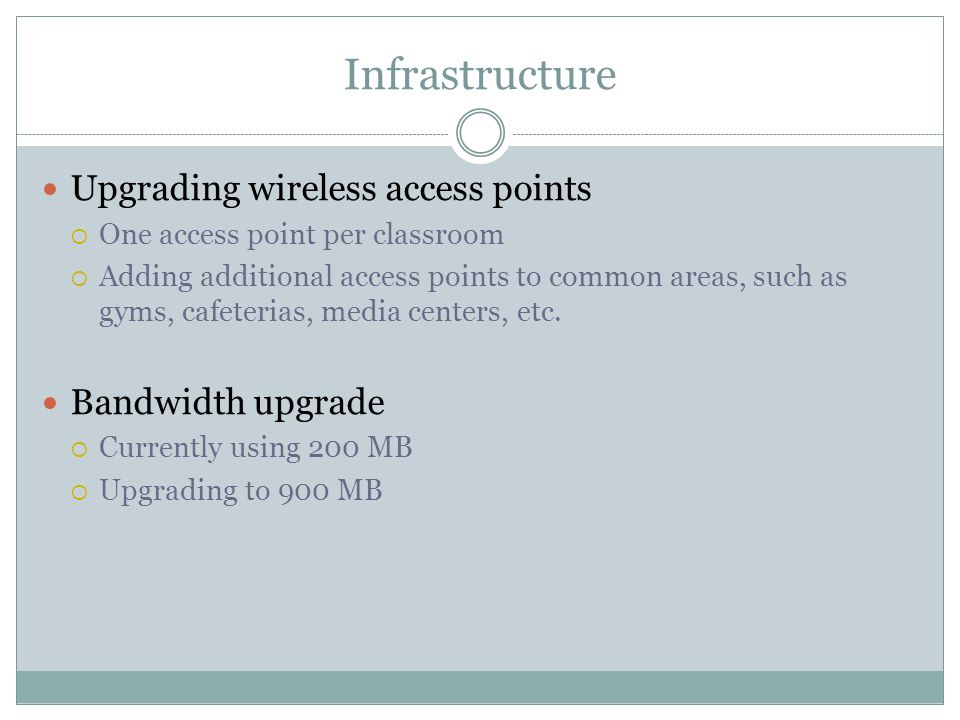 Infrastructure Upgrading wireless access points  One access point per classroom  Adding additional access points to common areas, such as gyms, cafeterias, media centers, etc.