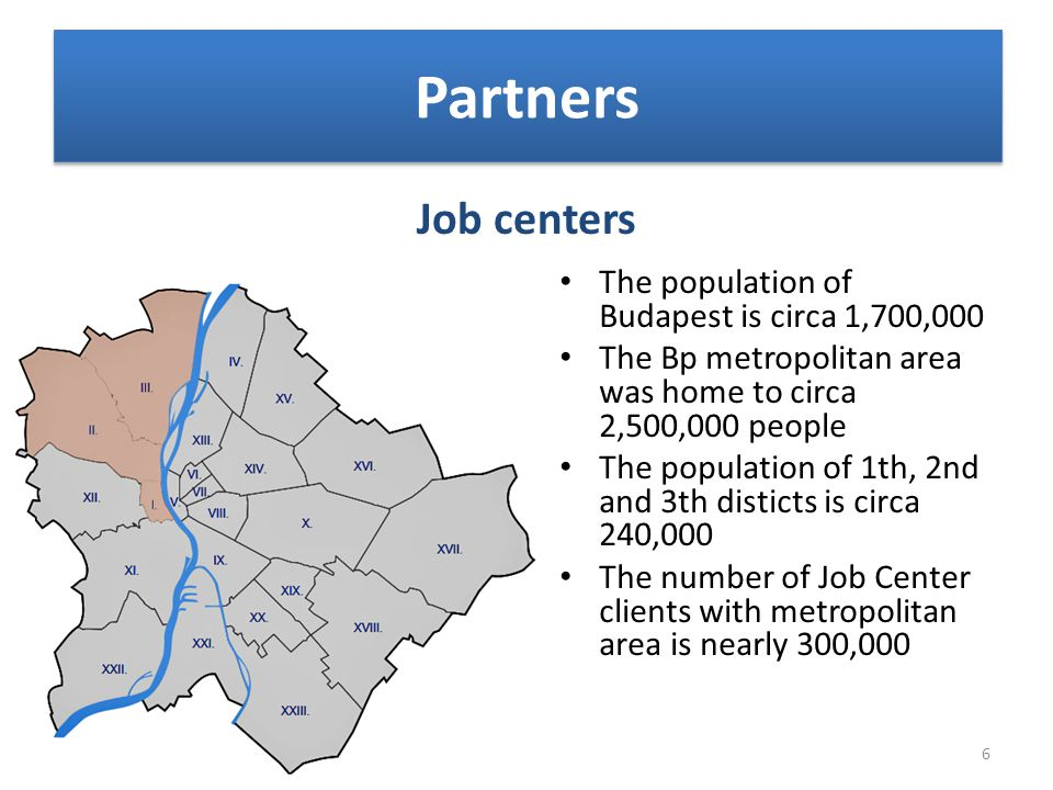 Job centers Partners The population of Budapest is circa 1,700,000 The Bp metropolitan area was home to circa 2,500,000 people The population of 1th,