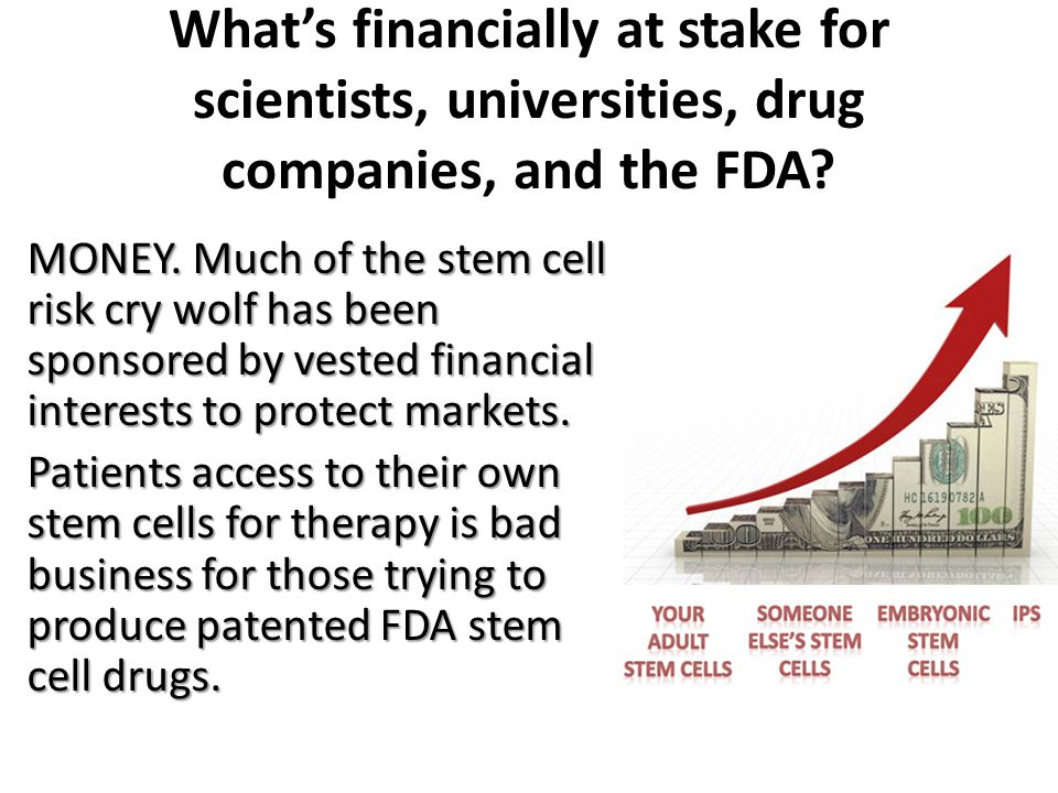 What's financially at stake for scientists, universities, drug companies, and the FDA.