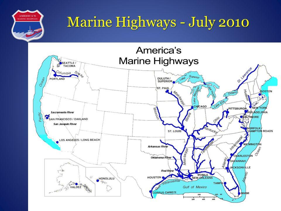 M-5 M-95 M-10 M-90 M-70 M-55 M-5 (AK) M-71/77 M-65 M-40 M-49 M-87 M-64 M-A1 M-75 M-84 M-580 America's Marine Highway Corridors Designated Aug 2010 M-2 LEGEND MH Corridor MH Connector MH Crossing U.S.