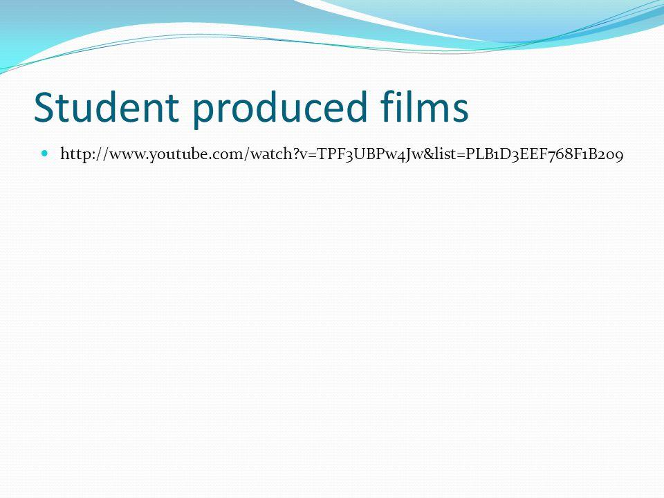 Student produced films http://www.youtube.com/watch?v=TPF3UBPw4Jw&list=PLB1D3EEF768F1B209