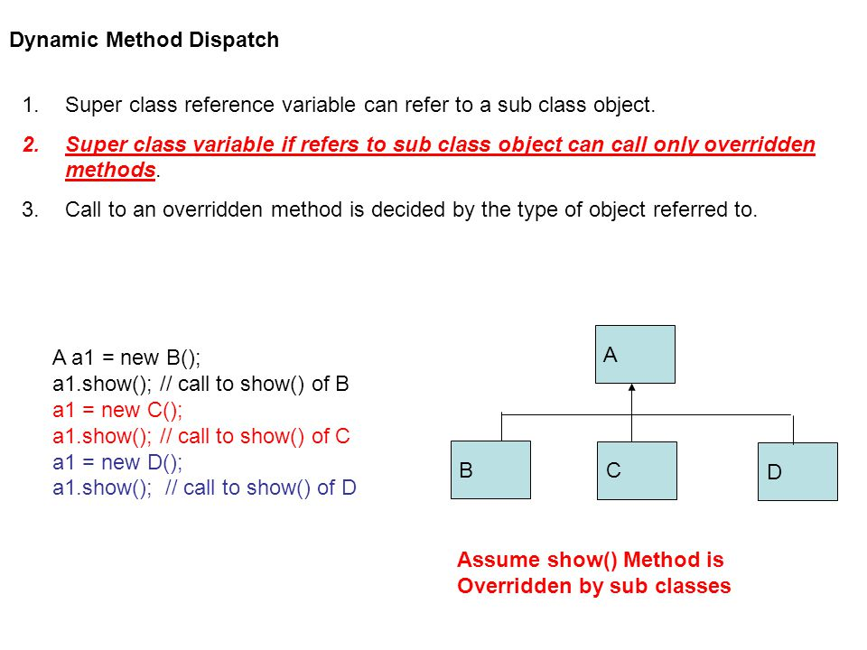 Dynamic Method Dispatch 1.Super class reference variable can refer to a sub class object.