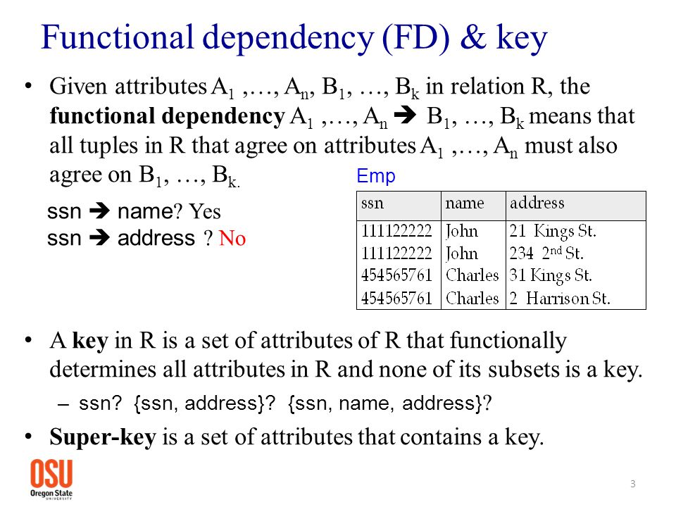 Functional dependency (FD) & key Given attributes A 1,…, A n, B 1, …, B k in relation R, the functional dependency A 1,…, A n  B 1, …, B k means that
