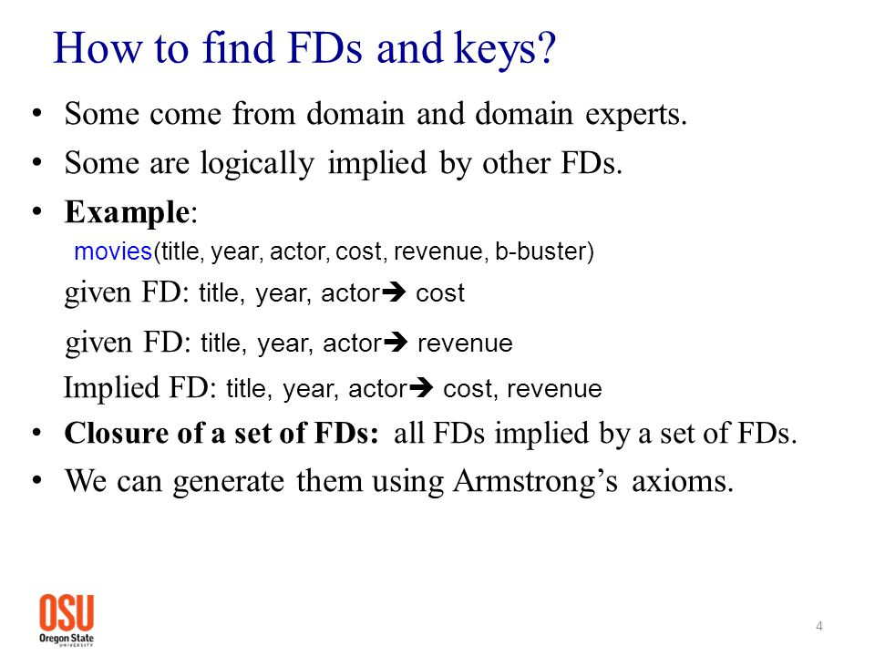 How to find FDs and keys? Some come from domain and domain experts. Some are logically implied by other FDs. Example: movies(title, year, actor, cost,