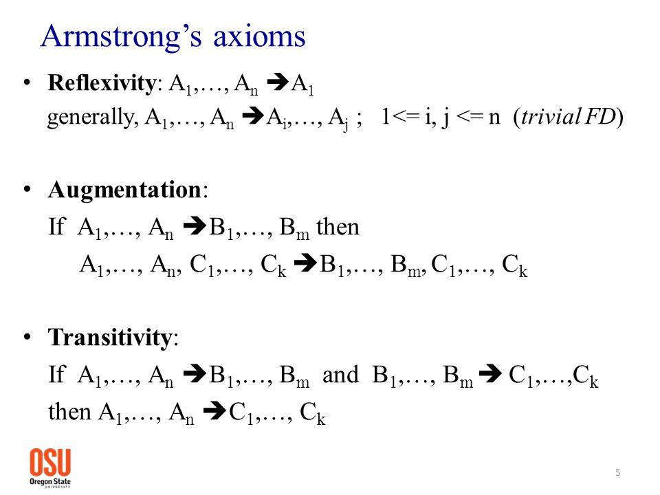 Armstrong's axioms Reflexivity: A 1,…, A n  A 1 generally, A 1,…, A n  A i,…, A j ; 1<= i, j <= n (trivial FD) Augmentation: If A 1,…, A n  B 1,…, B m then A 1,…, A n, C 1,…, C k  B 1,…, B m, C 1,…, C k Transitivity: If A 1,…, A n  B 1,…, B m and B 1,…, B m  C 1,…,C k then A 1,…, A n  C 1,…, C k 5