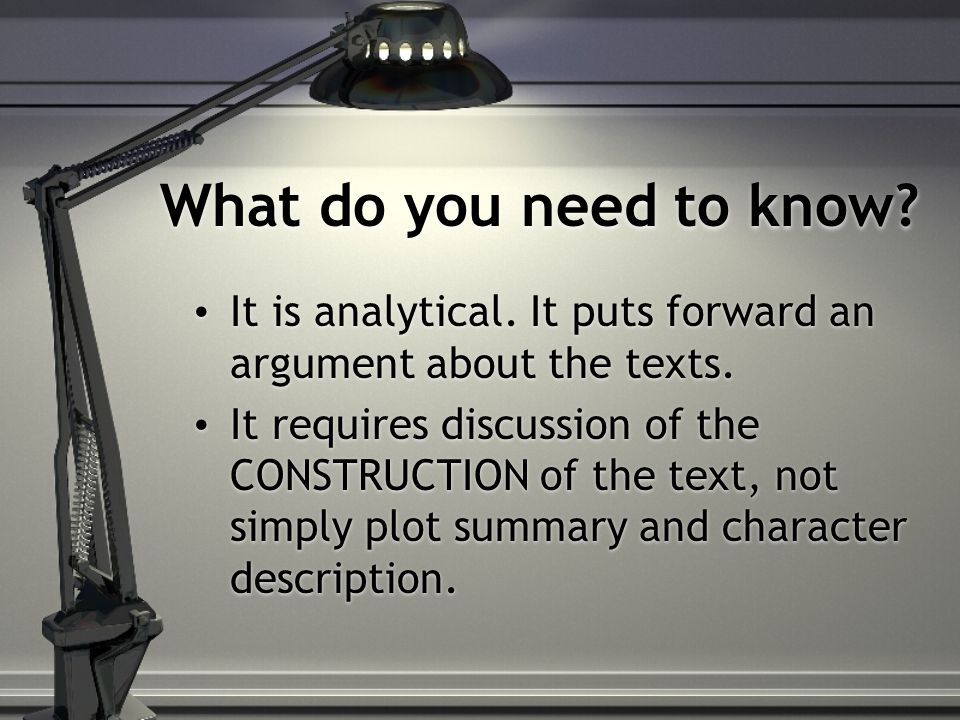 What do you need to know. It is analytical. It puts forward an argument about the texts.