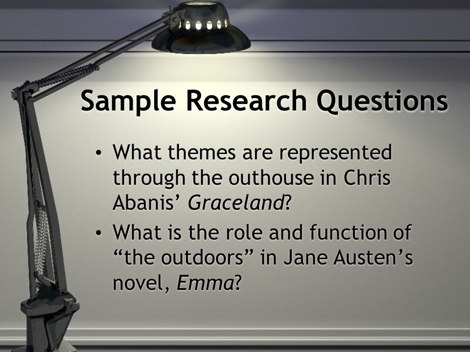 """Sample Research Questions What themes are represented through the outhouse in Chris Abanis' Graceland? What is the role and function of """"the outdoors"""""""