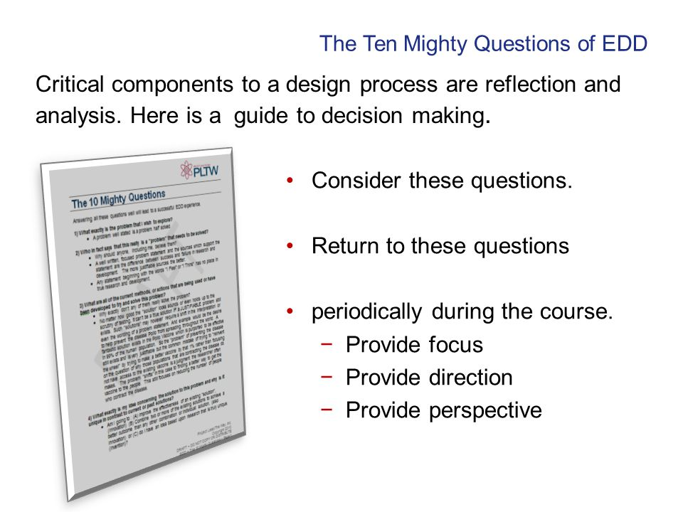 Critical components to a design process are reflection and analysis. Here is a guide to decision making. Consider these questions. Return to these que