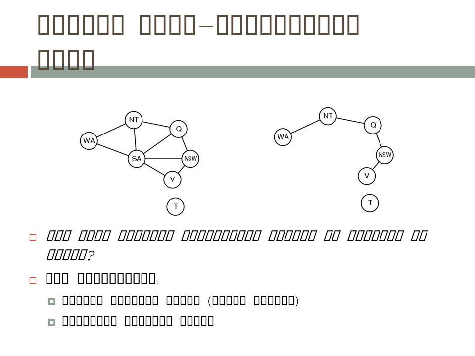 Nearly tree - structured CSPs  Can more general constraint graphs be reduced to trees.