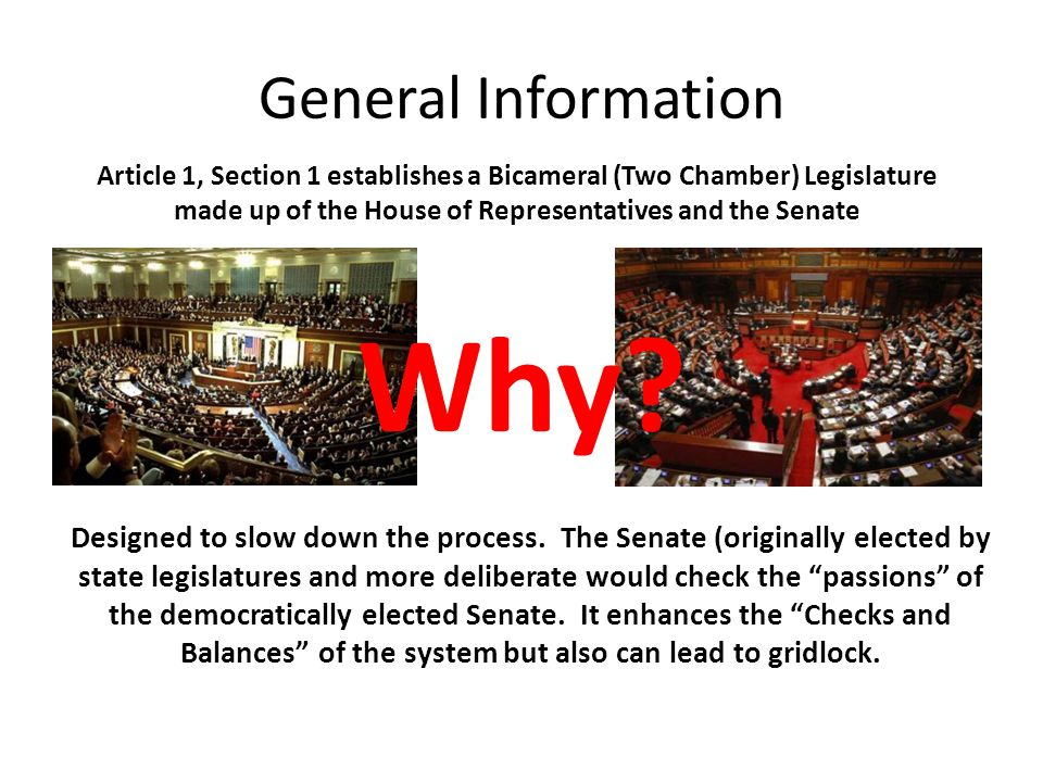 General Information Article 1, Section 1 establishes a Bicameral (Two Chamber) Legislature made up of the House of Representatives and the Senate Why?