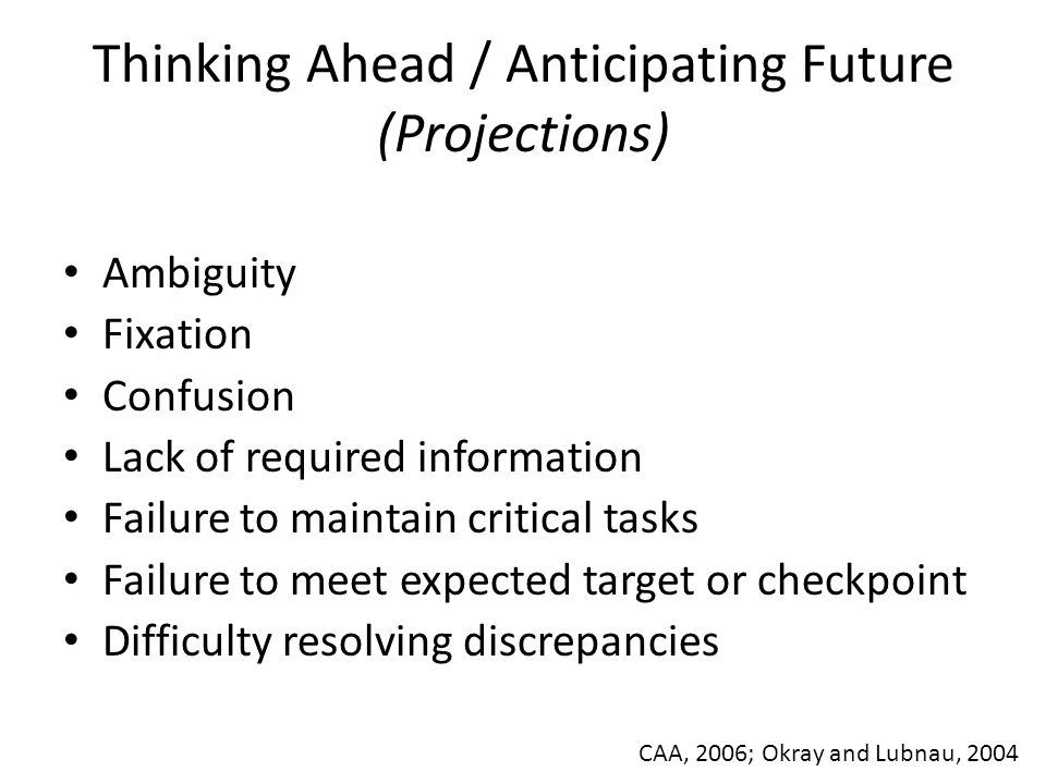 Thinking Ahead / Anticipating Future (Projections) Ambiguity Fixation Confusion Lack of required information Failure to maintain critical tasks Failur