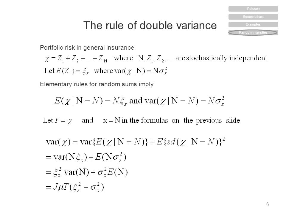 The rule of double variance 6 Some notions Examples Random intensities Poisson Portfolio risk in general insurance Elementary rules for random sums imply