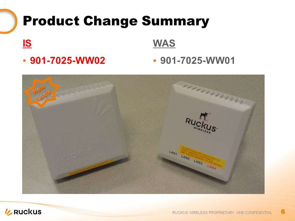 6 RUCKUS WIRELESS PROPRIETARY AND CONFIDENTIAL Product Change Summary IS ▪901-7025-WW02 WAS ▪901-7025-WW01