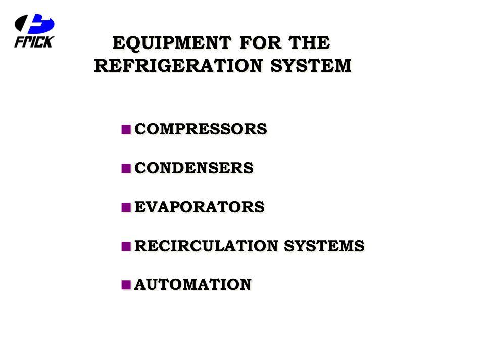  COMPRESSORS  CONDENSERS  EVAPORATORS  RECIRCULATION SYSTEMS  AUTOMATION  COMPRESSORS  CONDENSERS  EVAPORATORS  RECIRCULATION SYSTEMS  AUTOMATION EQUIPMENT FOR THE REFRIGERATION SYSTEM EQUIPMENT FOR THE REFRIGERATION SYSTEM