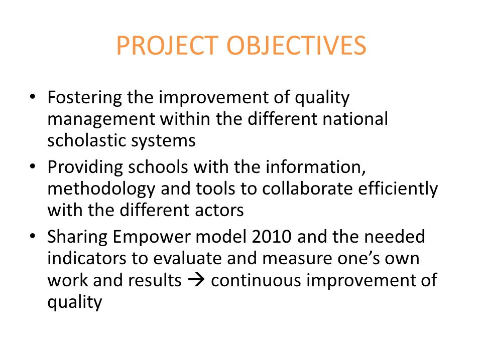 TRANSFER Object of transfer: Empower model: quality system related to school management and educational school services with a particular focus on the inclusion and scholastic integration of immigrant students Geographical (Italy, Austria, Romania) Adaptive (regarding the needs of other target groups): extension from immigrant students to all vulnerable learners